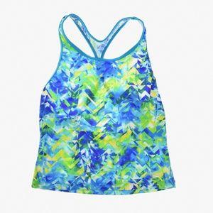 Kids Girls Tie Dye Splash Keyhole Tankini Top Blue